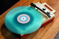 Retro Aqua Vinyl Record Player