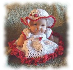 This is a design for my Aunt Becky. She want a doll for her bed. She didn't want a traditional bed doll with the huge skirts, she wanted the skirt just full enough to spread out on her bed. Love Crochet, Crochet Gifts, Crochet Baby, Beautiful Crochet, Easy Crochet, Crochet Toys, Crochet Ideas, Baby Doll Clothes, Crochet Doll Clothes