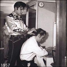 1957 scissor over comb by Elvis.