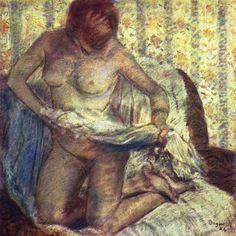 Edgar Degas, 'Bather Drying Herself', pastel on paper