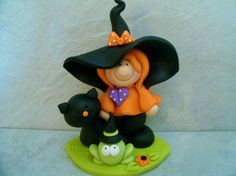 Witch  Black Cat  Frog  Halloween  Figurine by countrycupboardclay