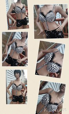 Zebra animal inspired bra with option matching by Smokinghotdivas