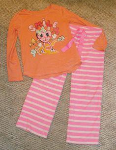 GAP Heart Smile tee top and fleece pajama pants pjs set L 10 XL 12  EUC #GapKids #PajamaSet