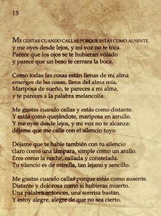 Poema 15.    Pablo Neruda  20 Poemas de amor y una canción desesperada.