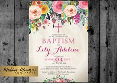 Floral Baptism Invitation. Flower Baptism Invitation, Great for any Baptism, Christening, Dedication ,First Communion. Girl Baptism de MakinMemoriesOnPaper en Etsy https://www.etsy.com/mx/listing/263507683/floral-baptism-invitation-flower-baptism
