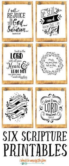 Six Beautiful Scripture Printables   These six black and white scripture printables are the perfect addition to any decor.