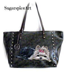 Yorkie Handpainted Show Yorkie Jessica Simpson Purse Handbag SugarspiceArt