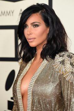 erin's faces: Girl Crush - Grammy Awards Red Carpet 2015, kim kardashian, lob, long bob, cheek highlight