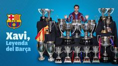 Xavi con todos los títulos que ha ganado con el #FCBarcelona