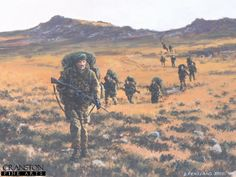 Yomping by David Pentland. Falkland Islands, 27th May 1982. Heavily laden Royal Marines during their epic march from San Carlos Bay to the battles for the hills around Port Stanley.