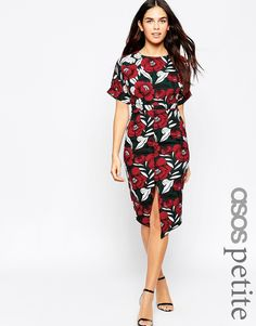 Image 1 ofASOS PETITE Wiggle Dress in Floral Print with Split Front