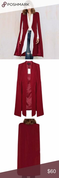 Blood Cape Blazer GO BY MEASUREMENTS NOT SIZE (see last pic)  This Dark Cloak is Satin Lined, The Cape Design overlaps and covers your shoulders giving a flowy effect and exposes your arms.   High-Quality Fabric:90%Polyester,10%Spandex, Lightweight, Stretchy ,Nice for all seasons!   Boutique Items are NWOT Direct from maker  Tags: witch. wicca. occult. goth. punk. cape. trench. cloak. halloween. Vampire. Jackets & Coats