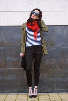 utility jacket / navy stripes / black / pop of red