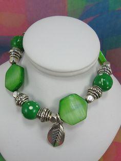 BraceletGreen Pearl Bracelet Charm Bracelet by NaturesJewelsByVina, $25.00
