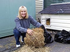 Use straw...NOT hay to insulate and provide bedding for outdoor animals..straw is hollow and will hold the body heat of the animal better. Hay is dried grass and retains some moisture which will pack down and will be colder for the animal.