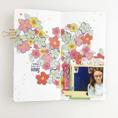 Working in my Traveler's Notebook brings me so much joy. Especially when I'm documenting one of my kids. I have a process video for this layout, link in profile. . . . #amytangerine #travelersnotebook #mylittlejournal #scrapmyscrap #stamps #flowers #kellypurkey #scrapbook #scrapbooking