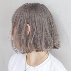 Ashy Hair, Hair Streaks, Hair Color Purple, Hair Dye Colors, Short Hair Styles Easy, Curly Hair Styles, Asian Short Hair, Korean Hair Color, Silver Blonde Hair