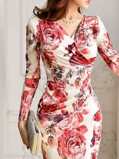 Spring Autumn Long Sleeve Sexy V-Neck Floral Printed Bodycon Dress - Flowery Dresses, Women's Dresses, Fashion Dresses, Trendy Dresses, Dance Dresses, Dresses Online, Short Dresses, Bodycon Outfits, Bodycon Dress