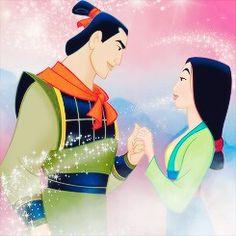 Disney couples - Mulan - Mulan and Shang Disney Art, Disney Pixar, Anime Disney, Walt Disney, Disney Wiki, Disney Couples, Disney And Dreamworks, Disney Girls, Disney Animation