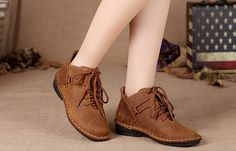 Women'S Handmade Leather Ankle BootsBrown Boot for by Dwarves