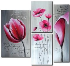 3 Pieces Hand Painted Oil Painting Pink Flowers-Modern Oil Painting On Canvas Art - Floral Oil Painting Wall Art Ready to Hang Modern Canvas Art, Canvas Artwork, Oil Painting On Canvas, Diy Painting, Art Floral, Art Painting Supplies, Modern Oil Painting, Flower Oil, Lovers Art