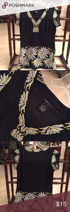 BCBG top shirt top BCBG top shirt top large! Nice Embroidery on front and top can be dressed up or down ! Super cute !! Priced to sell and bundle to save! BCBG Tops Blouses