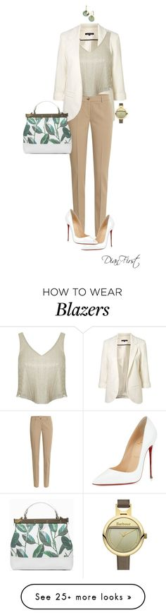 """Corporate Chic in White"" by dianfirst on Polyvore featuring WithChic, Michael Kors, Christian Louboutin, Miss Selfridge, L. Erickson and Barbour"