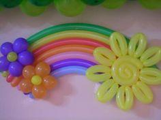 Cumpleaños arcoiris de globos sol flores RAINBOW BALOONS birthday party