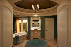 Teal Walls Design, Pictures, Remodel, Decor and Ideas - page 16 Pale Blue Walls, Teal Walls, Traditional Bathroom, Traditional House, Bed And Beyond, Wall Design, House Design, Mediterranean Bathroom, Storybook Homes