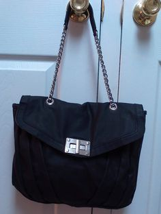 decbb5aa8e90 Gorgeous Black Purse with Leather and Chain Handle by KalidoscopeEyez on  Etsy Pretty Black