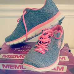 Memory Foam Sketchers. I have these with teal instead of pink. They are AMAZING, it's like walking on pillows!!