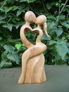 20 cm Mann Frau Liebe Love Paar Herz Heart Holz Liebespaar Schnitzerei Hochzeit