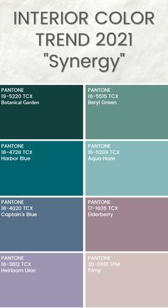 Synergy: A palette of peaceful and nurturing hues Trending Paint Colors, Paint Colors For Home, House Colors, Colour Pallete, Colour Schemes, Color Trends, Colorful Decor, Colorful Interiors, Decoration Palette