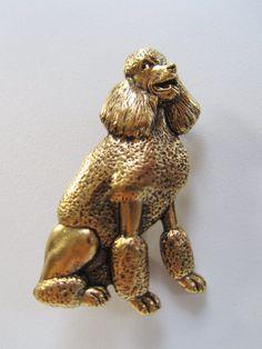 JJ+Jonette+Antique+Gold+Poodle+Brooch+pin+by+FrivolousIndulgences
