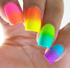 We love : neon nails for a fun summer! Match your neon nailcolor with a funky top, cool beachwear or swimwear on trendy accessories! Get some easy to DIY ideas for bright neon nails from the pictures below! Nails 21 beautiful neon nails to try Ombre Nail Designs, Nail Art Designs, Neon Nails, My Nails, Cute Nails, Pretty Nails, Rainbow Nail Art, Gel Nails At Home, Halloween Nail Art