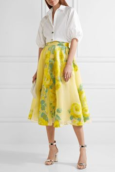 Lela Rose - Floral Fil Coupé Organza Midi Skirt - Bright yellow - US10
