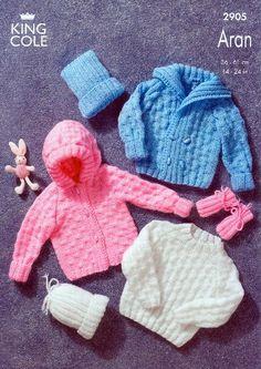 King Cole Baby Sweater, Jacket, Mitts & Hat Aran Knitting Pattern 2905 King Cole http://www.amazon.co.uk/dp/B00AEOPKB6/ref=cm_sw_r_pi_dp_qMI2ub1TMXH01