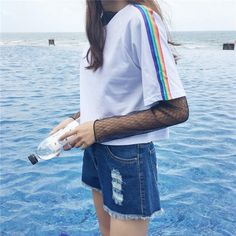 "RAINBOW STRIPE LINE BLACK WHITE COTTON T-SHIRT Use coupon ""ITPIN"" to get 10% OFF entire order - itgirlclothing.com 