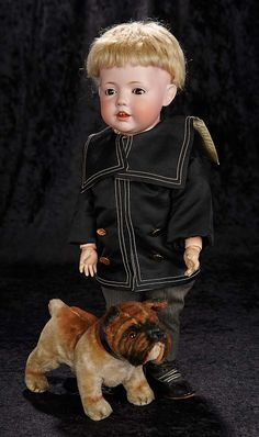 """""""Interlude"""" - Marquis Catalogued Auction - March 11, 2017: 291 German Bisque Character """"Hilda"""" by Kestner with Toy Bulldog"""