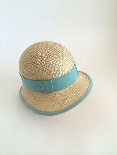 Flapper Cloche Hat Natural Straw gwith Pale Teal Blue by UnaHats