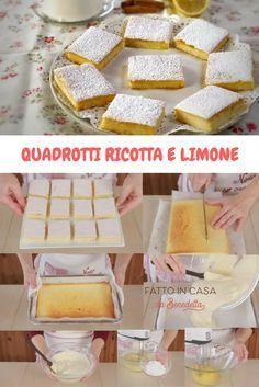 Quadrotti ricotta e limone, una ricetta facilissima per un dolce morbidissimo e profumato.