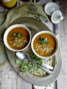 Pumpkin Black Bean Soup - pure pumpkin puree makes this soup creamy without any added cream, plus the black beans and spices give it a nice kick.