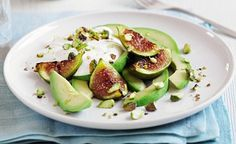Grilled figs with avocado and natural yoghurt, from Clean & Lean Diet Cookbook by James Duigan