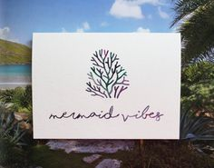 Mermaid Vibes Watercolor Blank Notecard 5 x 7 by PostmarkMiami
