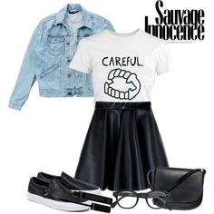 A fashion look from September 2015 featuring Wrangler jackets, MSGM mini skirts and Vans shoes. Browse and shop related looks.