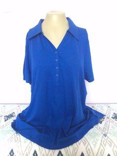 Blue Shirt New Plus Size Top Lane Bryant Supima Cotton Micro Modal 1X 2X,3X,4X #LaneBryant #Shirt
