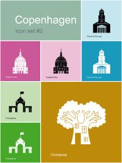 Icons of Copenhagen vector art illustration