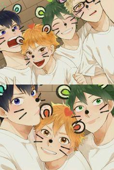 Kageyama, Hinata, Yamaguchi & Tsukishima from Haikyuu! Hinata, Haikyuu Kageyama, Kagehina, Manga Haikyuu, Haikyuu Funny, Haikyuu Fanart, Naruto, Cute Anime Boy, Anime Guys