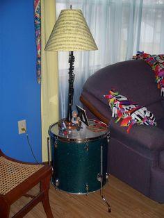 "Repurposed ""drum""table and ""instrument"" lamp"
