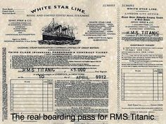 Boarding pass for the RMS Titanic
